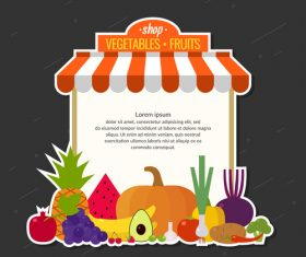 Fresh vegetable with fruits shop design vector