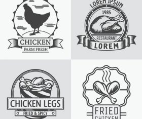 Fried chicken with chicken meat labels vector 02