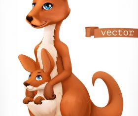 Funny Kangaroo 3d cartoon vector