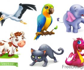 Funny animals 3d cartoon vector