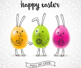 Funny easter egg design vectors 01