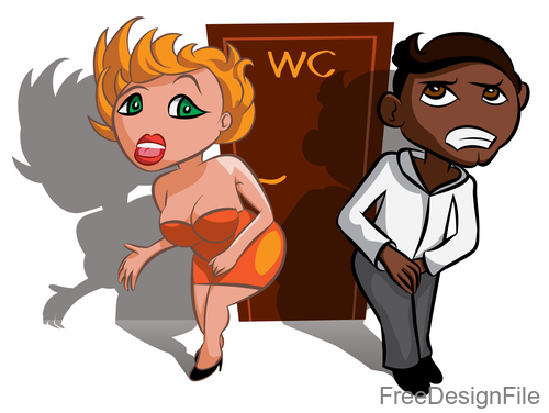 Funny people waiting near WC vector 02