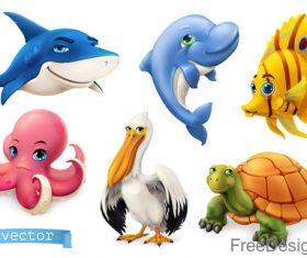 Funny sea animals and fishes cartoon vector