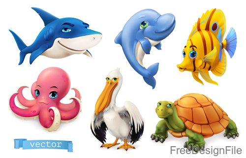 Funny Sea Animals And Fishes Cartoon Vector Free Download
