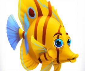 Funny tropical fish 3d cartoon vector