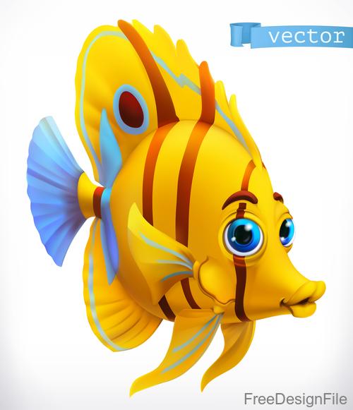Funny tropical fish 3d cartoon vector