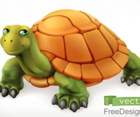 Funny turtle 3d cartoon vector