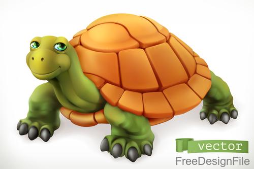 Funny turtle 3d cartoon vector