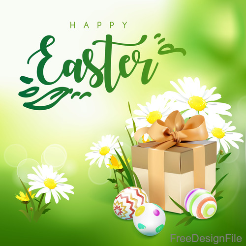 Gift boxs with easter spring background vector 02