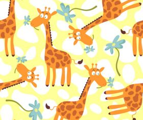 Giraffe cartoon seamless pattern vector