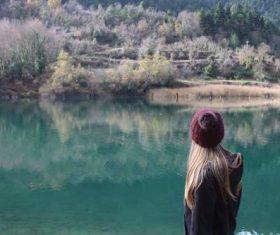 Girl Hiking Stock Photo