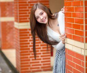 Girl hide and seek Stock Photo