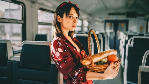 Girl holding food basket in the train compartment Stock Photo