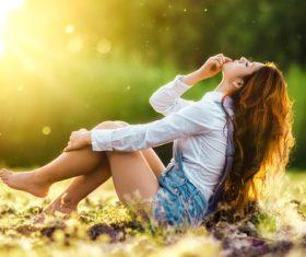Girl with sunshine Stock Photo