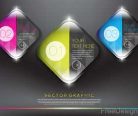 Glass number banners colored vector