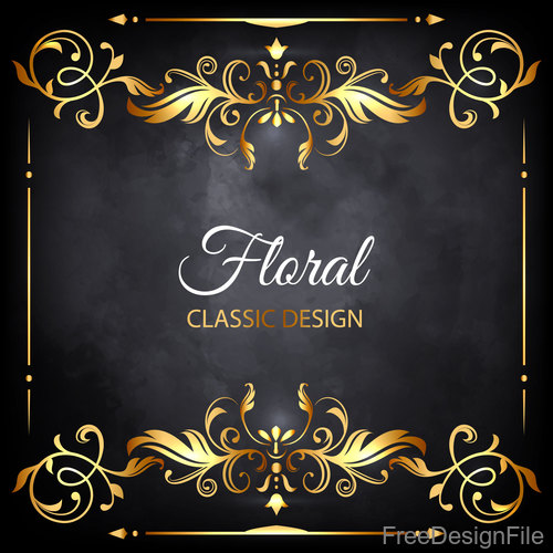 Gloden floral classic frame vector