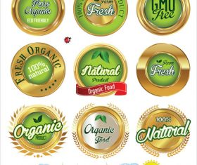 Gold and green ecology labels vector