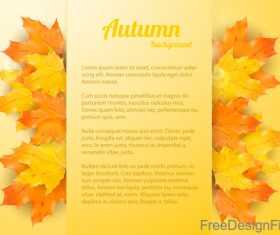 Golden autumn background with maple leaves vectors 02