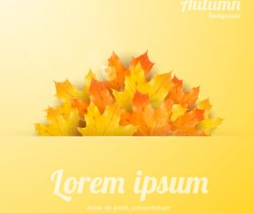 Golden autumn background with maple leaves vectors 03