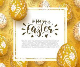 Golden easter background with easter egg vector