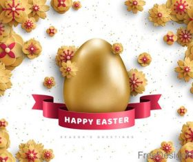 Golden easter egg with flower and easter ribbon vector
