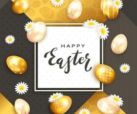 Golden egg with easter card vector