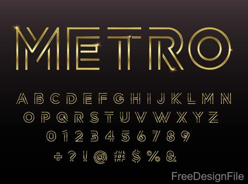 Golden lines numbers with alphabet and sign vector