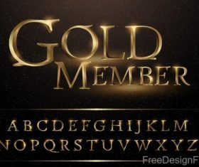 Golden memeber alphabet vector