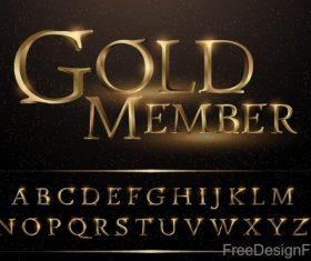 Golden memeber alphabet vector