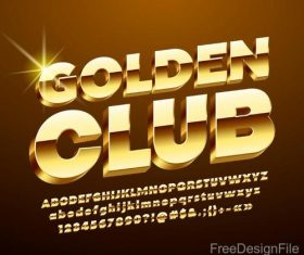Golden metal numbers with alphabet shiny vector