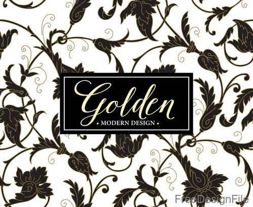 Golden oranments pattern elements vectors 06