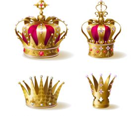 Golden royal crown decor vector