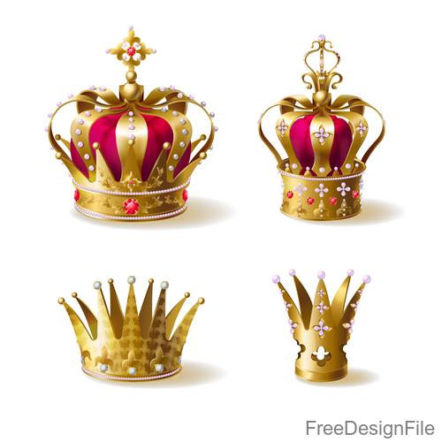 Golden royal crown decor vector