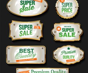 Golden sale labels retro vintage design vector