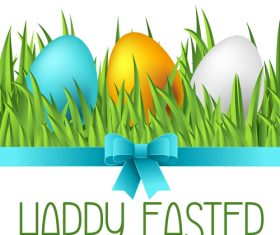 Grass with easter egg and blue bows vector
