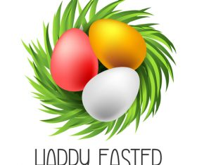Grass with easter egg design vector 01