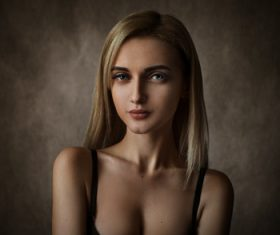 Gray eyes blonde women portrait Stock Photo