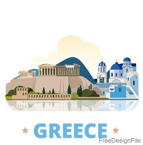 Greece travel elements design vector