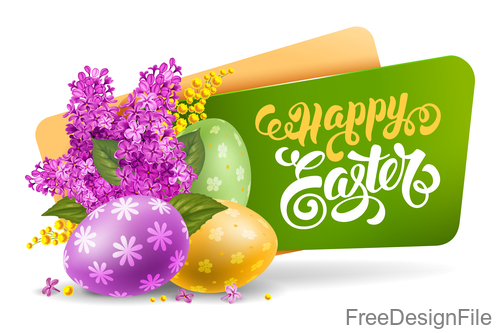 Green easter banners with easter egg and flower vector