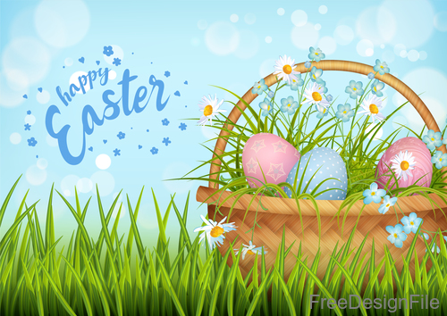 Green grass with easter festival vector