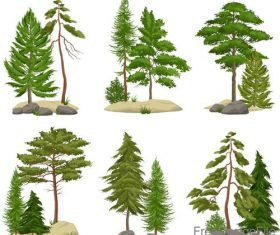 Green tree illustration vector set 02