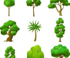Green tree illustration vector set 03