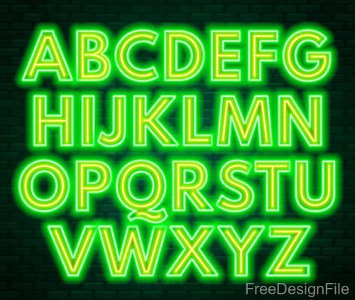 Green with yellow neon alphabet vector