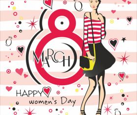 Greeting card with 8 March womens Day vector 02