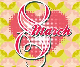 Greeting card with 8 March womens Day vector 03