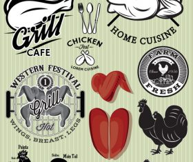 Grill chicken meat labels with badge design vector