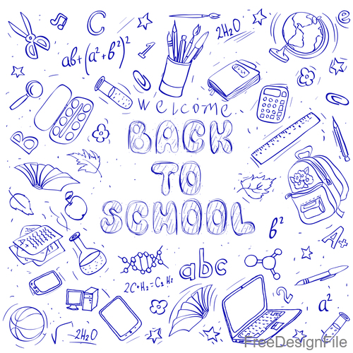Hand drawn back to school pattern vectors 01