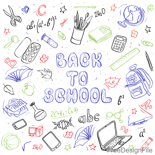 Hand drawn back to school pattern vectors 02