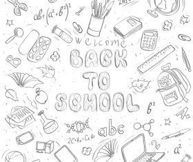 Hand drawn back to school pattern vectors 03