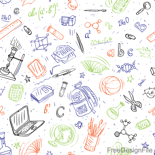 Hand drawn back to school pattern vectors 04